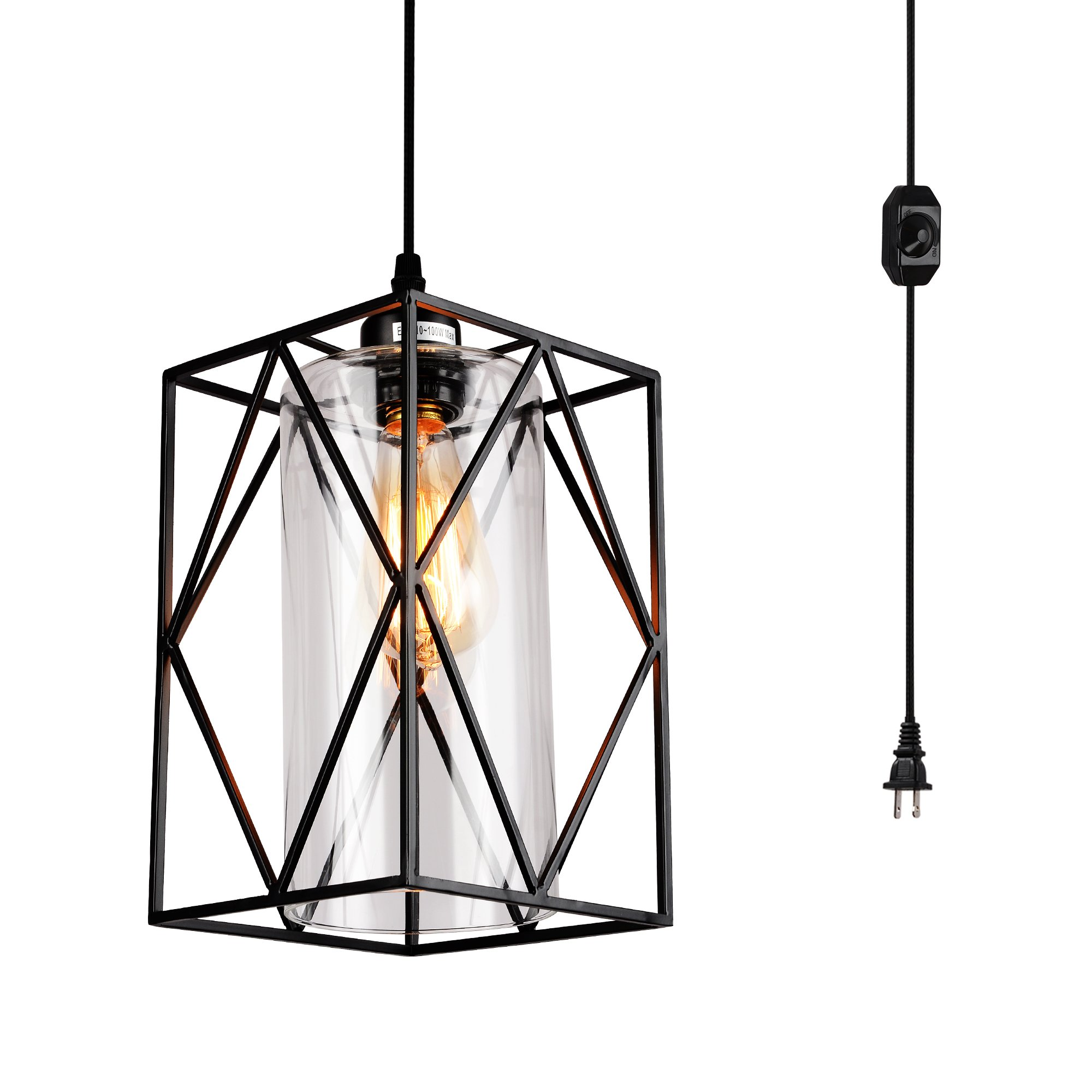 HMVPL Swag Lights with 16.4 Ft Plug in Cord and On/Off Dimmer Switch, New Transitional Hanging Pendant Lamps with Glass Lampshade for Dining Room, Bed Room
