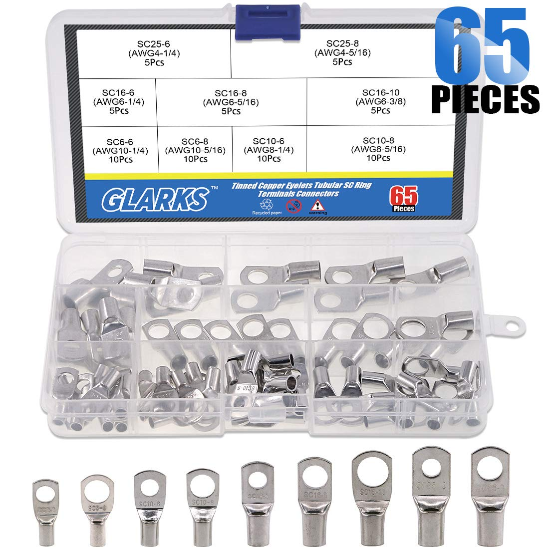 Glarks 65Pcs Assorted Heavy Duty Wire Lugs Battery Cable Tinned Copper Eyelets Tubular SC Ring Terminals Connectors with Spy Hole Assortment Kit by Glarks