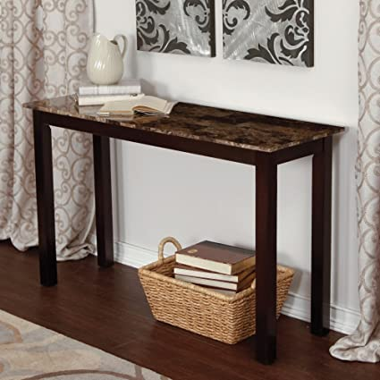 Amazon Com Palazzo Faux Marble Console Table Kitchen Dining