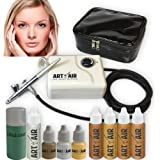 Art of Air MEDIUM Complexion Professional Airbrush Cosmetic Makeup System / 4pc Foundation Set with Blush, Bronzer, Shimmer a