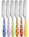 BUGATTI PSAA-014F32/6-6 coltelli per spalmare, in SAN/acciaio, motivo a pois, 16 x 20 x 3 cm