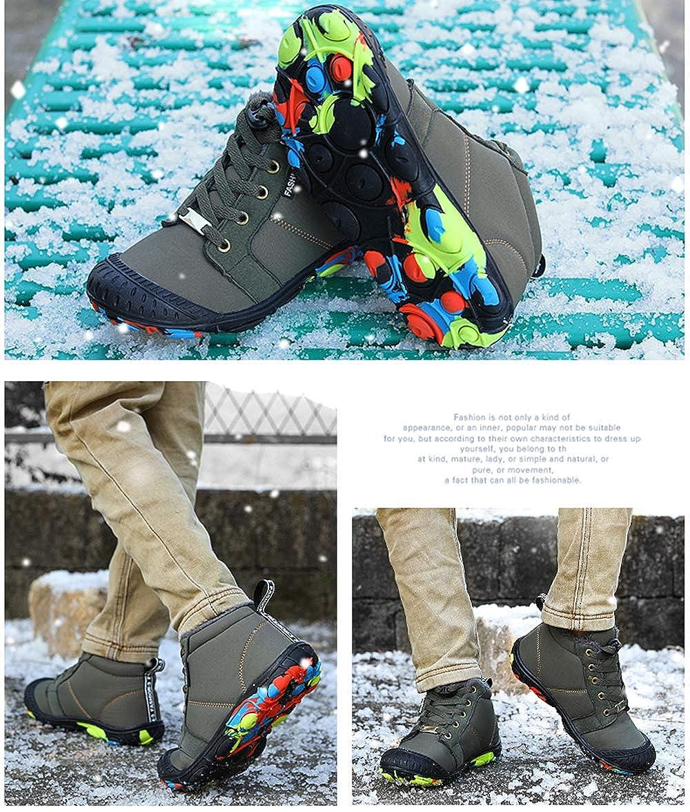 Jinouyy Kids Snow Boots Boys Waterproof Anti-Slip Winter Boots Warm Fur Lined Outdoor Ankle Booties Shoe Size