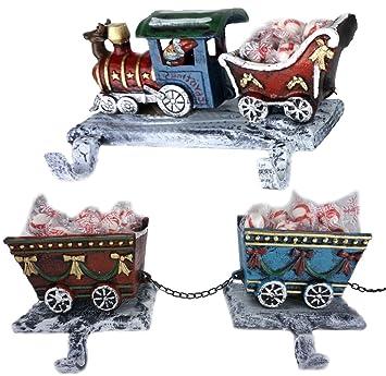 lulu decor 3d train christmas stocking holder 3 piece set made of cast iron