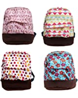 BMC 4 pc Fun Mixed Pattern Design Mini Backpack Style Key Chain Coin Purse Pouch