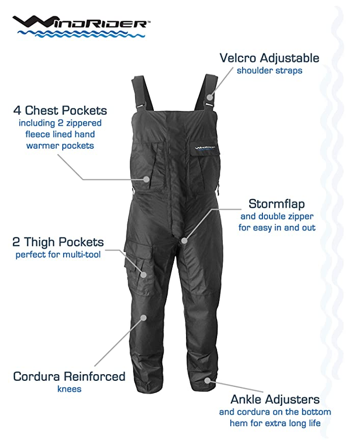 WindRider Pro Foul Weather Gear - Rain Suit - Jacket + Bibs - Breathable, Numerous Pockets, Mesh Lined for Comfort - for Fishing, Sailing, Outdoor ...
