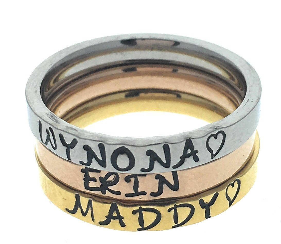 Tri Color Stacking Rings, Name Ring, Personalized Stackable Ring, Hand Stamped Ring