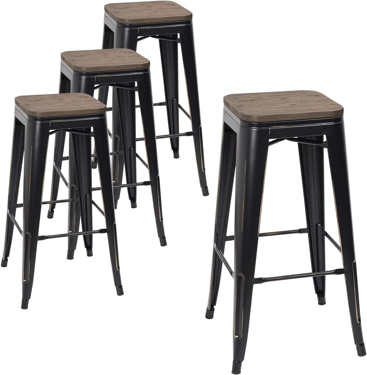 Devoko Metal Bar Stool 30 Indoor Outdoor Stackable Barstools Modern Industrial Square Wood Top Bar Stools Set Of 4 Black Gold Kitchen Dining