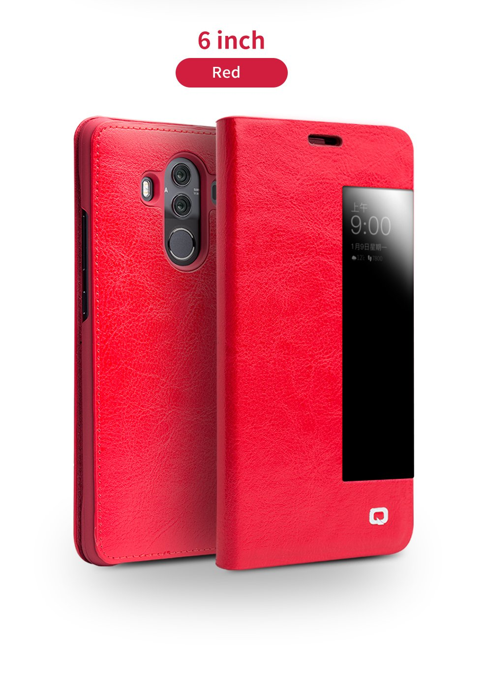 Huawei Mate 10 Pro Case, QIALINO Slim Flip Genuine Leather Smart Cover Mate 10 Pro Protector (with Smart Window and Auto Screen Sleep/Wake) for Huawei Mate10 Pro, Red
