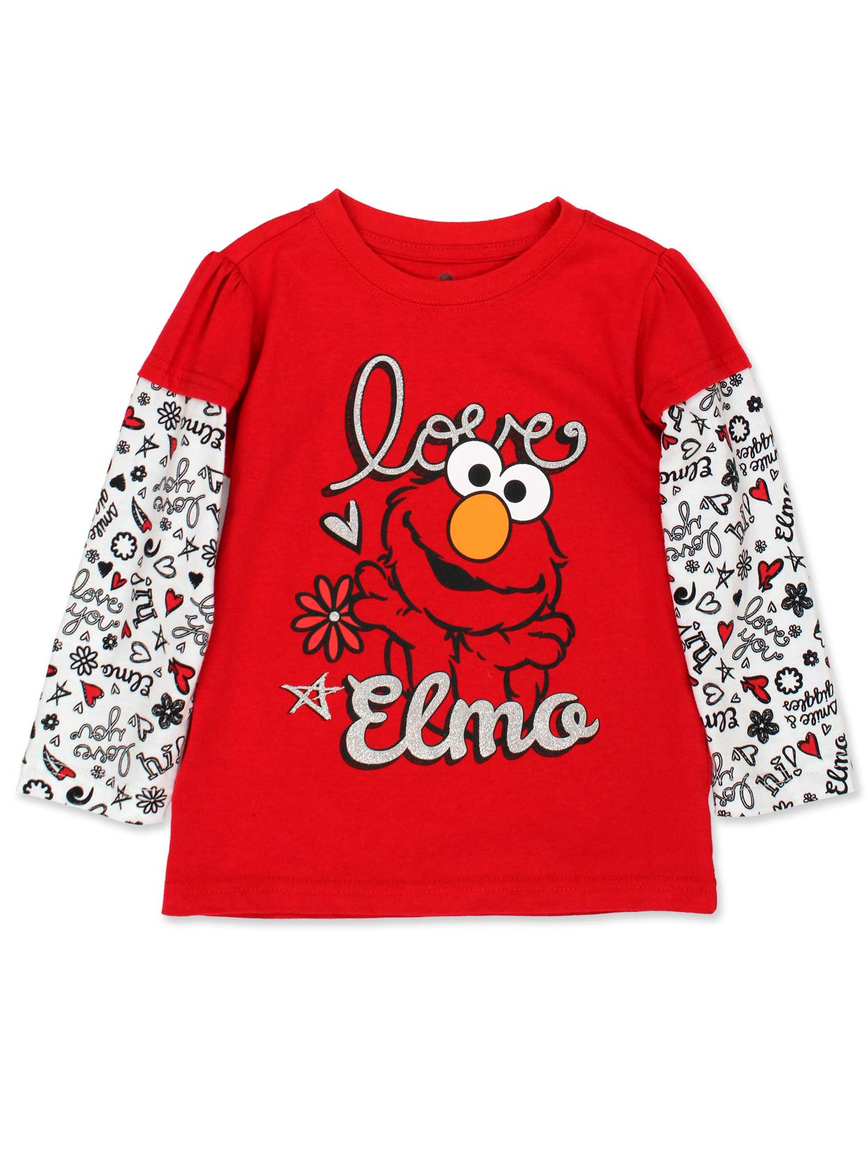 Sesame Street Elmo Girls Long Sleeve Tee (2T, Red) by Sesame Street
