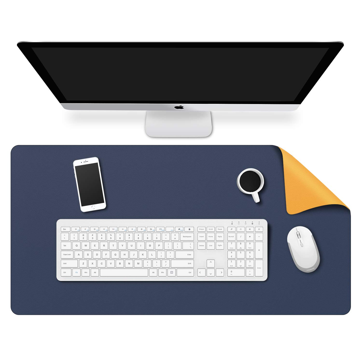 MoKo Computer Desk Mat - PU Large Extended Gaming Mouse Pad, Non-Slip Keyboard Mouse Mat, Waterproof Office Writing Desk Pad Protector, 31.5 x 15.7 x 0.08 inch - Double Side Royal Blue/Yellow