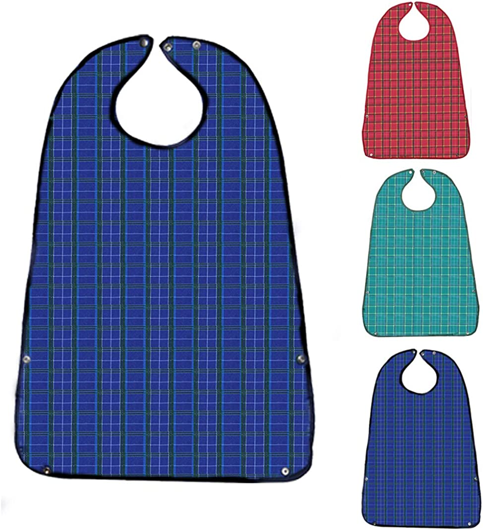 Adult Bibs for Eating (3 Pack)- Washable Reusable Waterproof Clothing Protector with Crumb Catcher-Bibs for Seniors for Eating at Mealtime 30