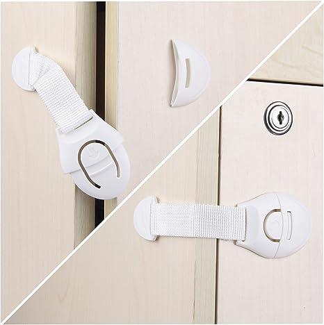 Cerradura de Seguridad para Beb/és Adhesiva Transparente de 3M,10 Cerraduras de Seguridad para Ni/ños,Utilizadas para Cerraduras de Gabinetes,Inodoros,Cocinas,Puertas y Ventanas,Refrigeradores