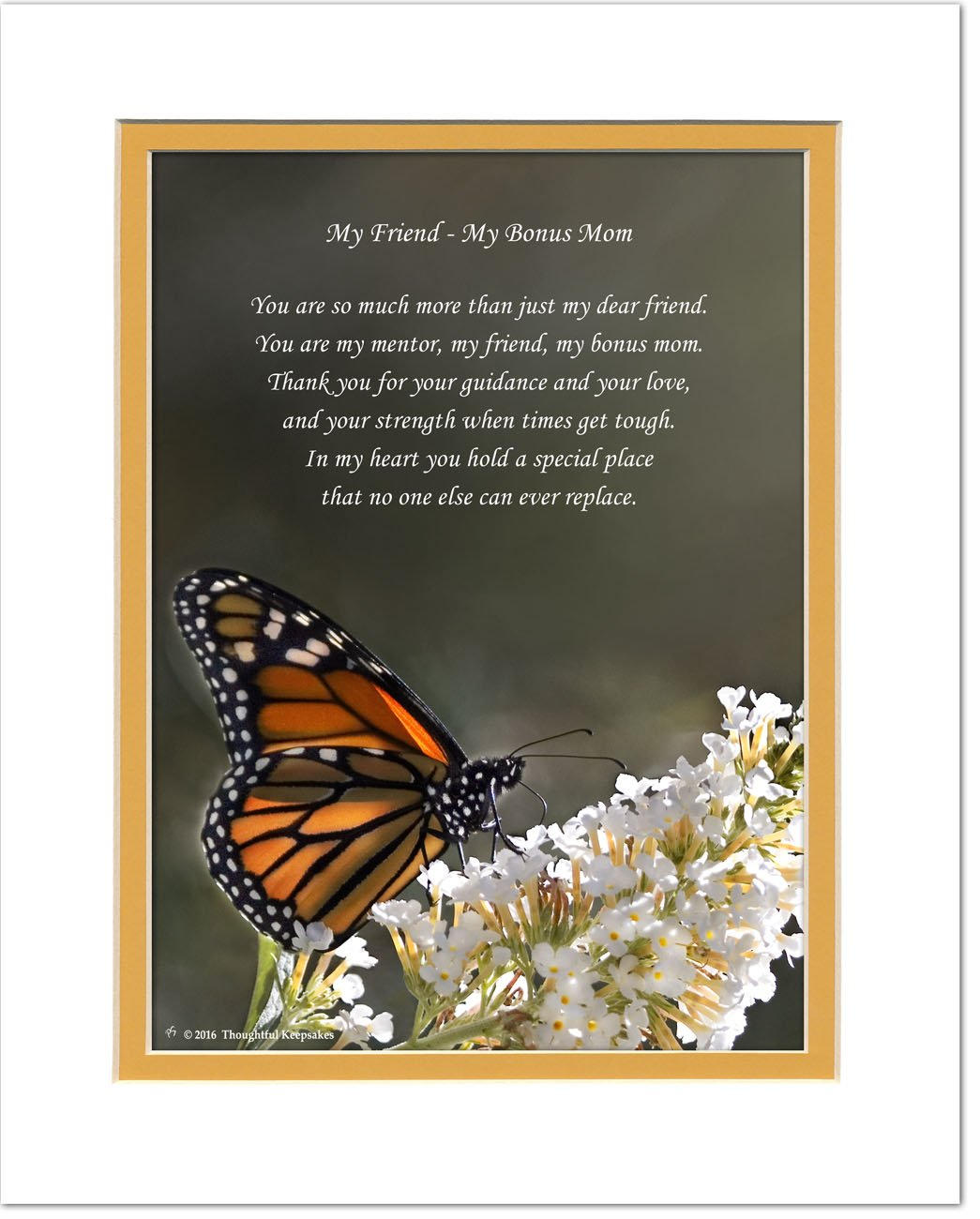 Second Mom, Stepmom or Friend Like-A-Mom Gift with ''You are My Mentor, My Friend, My Bonus Mom'' Poem, Butterfly Photo, 8x10 Double Matted. Stepmother, Special Birthday, Christmas, Mother's Day Gifts.