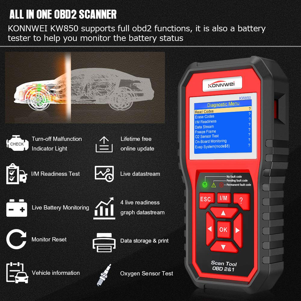 Konnwei Kw850 Professional Obd2 Scanner Auto Code Reader Product 2003 This Circuit Tester To Test The Battery Kit Diagnostic Check Engine Light Scan Tool For Obd Ii Cars After 1996 Original