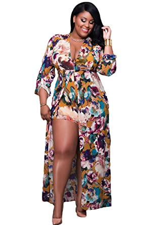 Our Wings Women Plus Size Sleeved Floral Romper Maxi Dress At Amazon