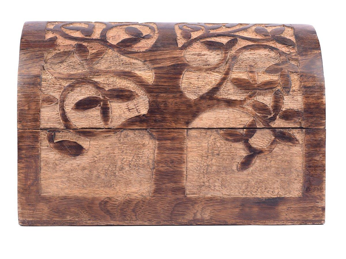 Large Wooden ''Tree of Life'' Chest Box Decorative Jewelry Trinket Holder Keepsake Storage Box Organizer Multi-utility 9 x 6 inches by storeindya (Image #6)