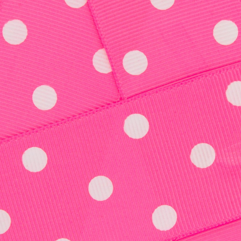 1.5'' Grosgrain Ribbon White Dots 156 Hot Pink 25yd