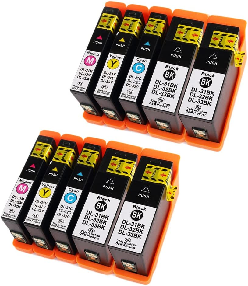 ESTON 10 Pack for Dell Series 31 Black and Series 31 Color Compatible Ink Cartridges for Dell V525w/ V725w All-in-One Wireless Inkjet Printer