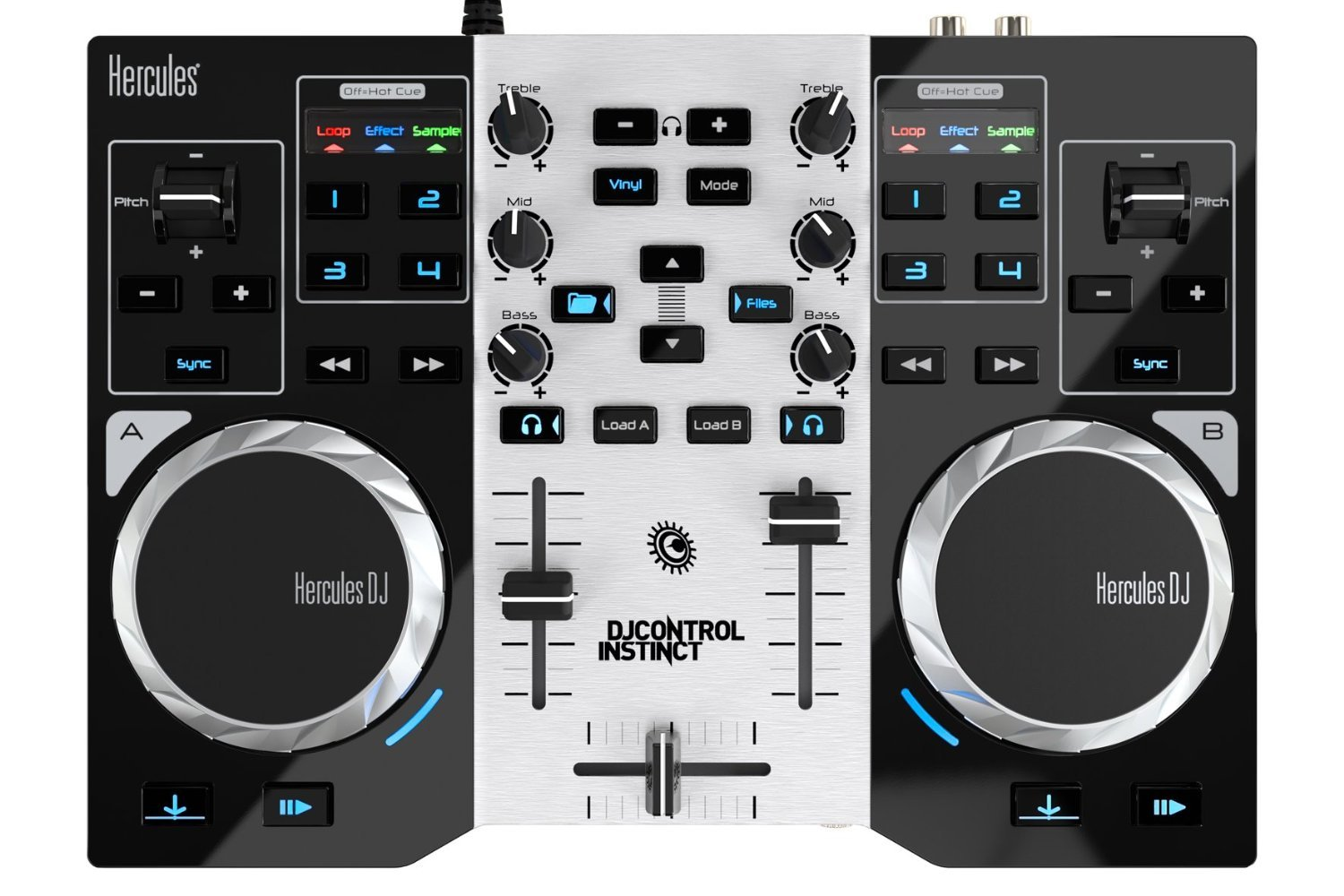 Hercules DJControl Instinct S series, ultra-mobile USB DJ Controller with Audio Outputs for use with your Headphones and your Speakers (4780833) 4780846