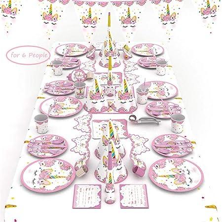 Unicornio Decoración de Fiesta de Cumpleaños, Queta Unicornio Desechable Vajilla Accesorio, para 6 personas, Rosado