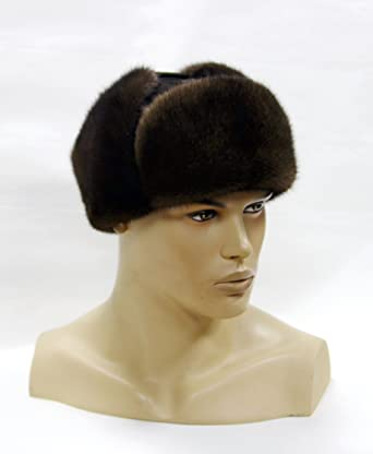 c4ffb0e256c5c Mens Fur Hat - Mink Hat with a Leather Cap Brown at Amazon Men s ...