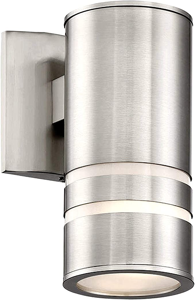 Kira Home Rockwell 8 5 1 Light Modern Weatherproof Porch Light Metal Cylinder Wall Sconce For Indoor Outdoor Use Brushed Nickel Finish Home Improvement