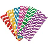 Rainbow Color Stripe Paper Drinking Straws 7.75 Inches 150 Pack