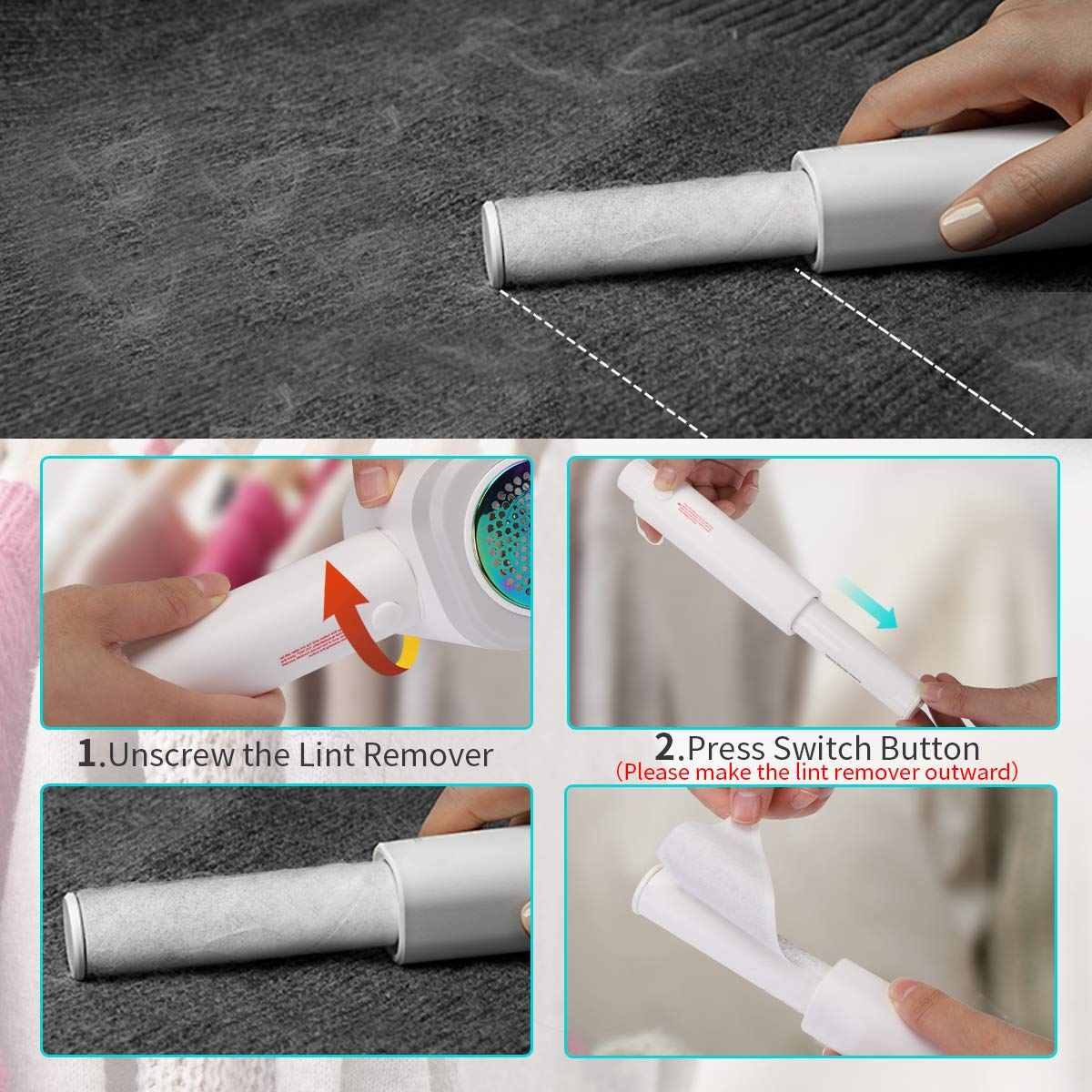Morpilot Rasoir à Bouloches Electrique avec Rouleau de Papier Collant,2 en 1 Rasoir Anti-Peluche USB Charger Batterie Rechargeable Pour Chandails/Vêtements/lainage/Rideaux