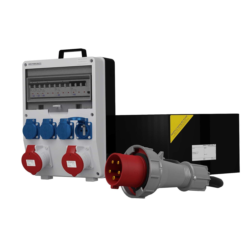 Doktorvolt/® 0038 Distributeur /électrique TD-S//FI 2 x 32 A 4 x 230 cm avec c/âble 5 x 10 mm