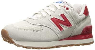 5952c448721cb New Balance Women s 574 Retro Sport Pack Lifestyle Fashion Sneaker Sea  Salt Chinese Red 5