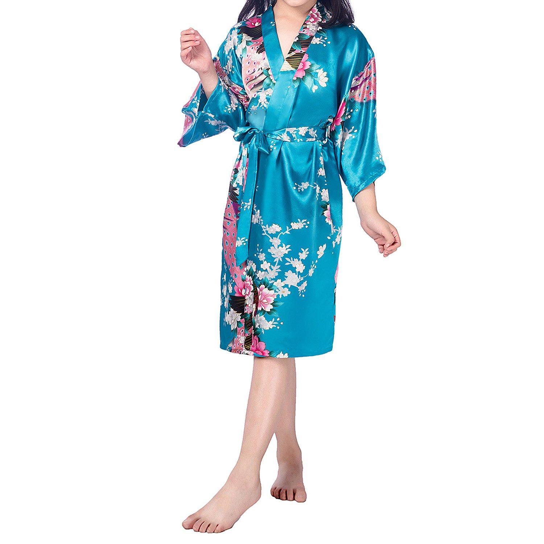 UTOVME Kid Girl's Satin Kimono Bathrobes Peacock Bloom Sleepwear for Spa Party Wedding Birthday Lake Blue Age 10-12 Years(manufacture Size 14)