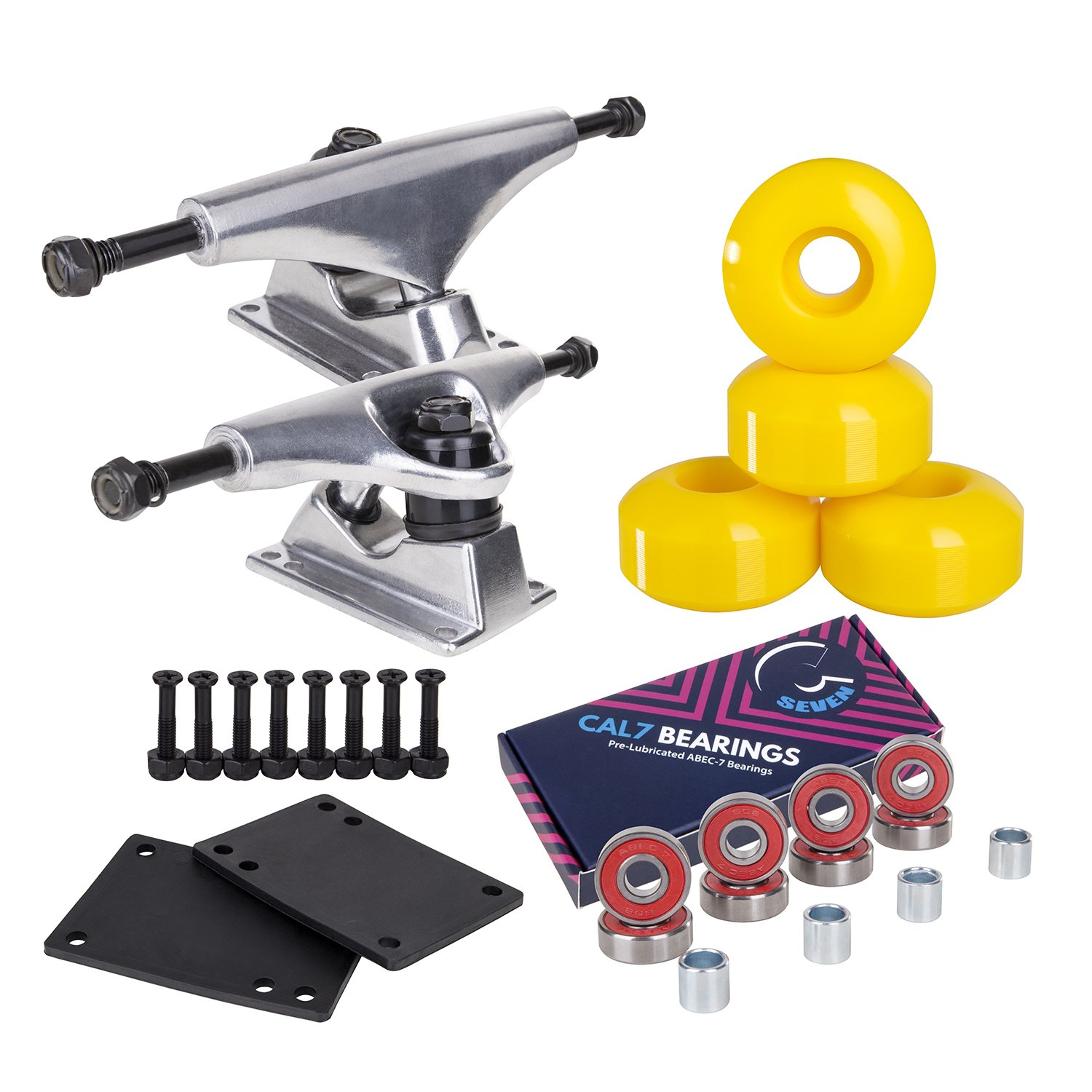 Cal 7 Skateboard Package Combo with 5 Inch / 129 Millimeter Trucks, 52mm 99A Wheels, Complete Set of Bearings and Steel Hardware (Silver Truck + Neon Yellow Wheels) by Cal 7