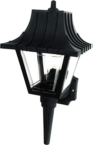 Colonial Wall Lantern Non-Metallic Black with Clear Beveled Panels. Light Fixtures for Porch, Yard, Patio, Driveway. Anti-Corrosion, Durable Plastic Material, Waterproof Exterior. Made in USA.