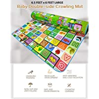 Sampri Double Sided Water Proof Baby Mat Carpet Baby Crawl Play Mat Kids Infant Crawling Play Mat Water Resistant Baby Play mat( 6.5 'X 6' Feet)Colors and Designs may very (Assorted Colors and Design)