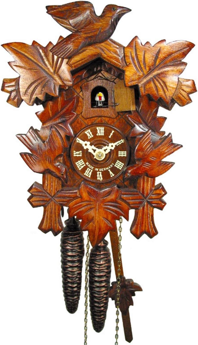 Reloj de cuco de la Selva Negra (original, certificado), mecanismo de 1 día, mecánico, 5 hojas, 3 pájaros, reloj de cuco, reloj de cuco, reloj de cuco, reloj de cuco (bonito regalo de Navidad)