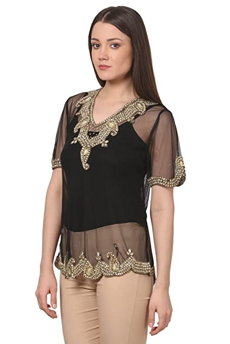 1920s Style Blouses, Shirts, Sweaters, Cardigans Saadgi Womens Handcrafted Dabka Sequin Work Beaded Western Top $30.00 AT vintagedancer.com