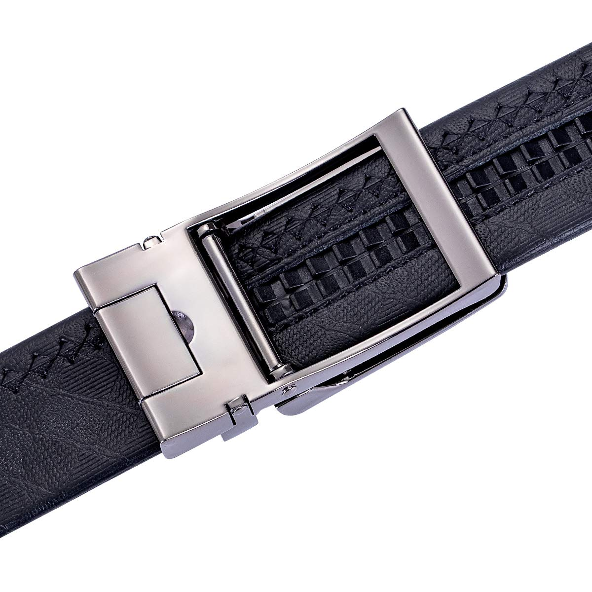 Barry.Wang Mens Belt Genuine Leather Ratchet Belt for Men Dress with Click Buckle Trim to Exact Fit
