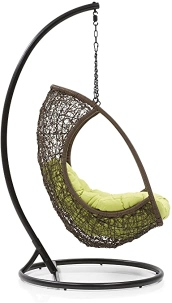 Hindoro Balcony Swing Chair with Stand (Brown)