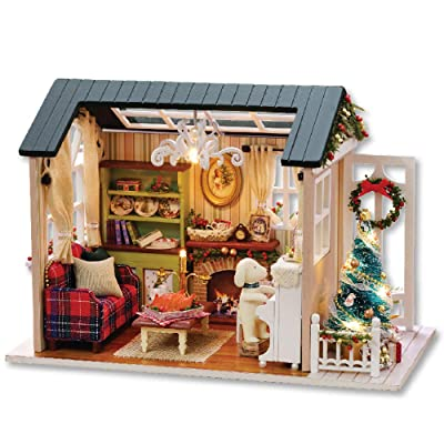 Decdeal DIY Christmas Miniature Dollhouse Kit Realistic Mini 3D Wooden House Room Craft Furniture LED Lights Children's Day Birthday Gift Christmas Decoration (Refined Version, Merry Christmas): Toys & Games
