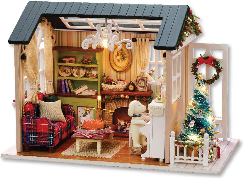 Blusea DIY Christmas Miniature Dollhouse Kit Realistic Mini 3D Wooden House Room Craft with Furniture LED Lights Children's Day Birthday Gift Christmas Decoration
