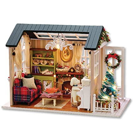 decdeal diy christmas miniature dollhouse kit realistic mini 3d wooden house room craft furniture led lights - Miniature Christmas Decorations For Dollhouses