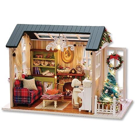 Amazon Com Decdeal Diy Christmas Miniature Dollhouse Kit Realistic