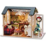 Blusea DIY Christmas Miniature Dollhouse Kit Realistic Mini 3D Wooden House Room Craft with Furniture LED Lights Children's D