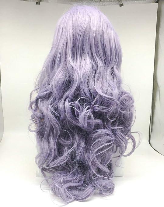 Pastel Lila Peluca Color Mezclado Púrpura Lavanda Pelo sintético para las mujeres Natural Hairline ondulado partido peluca larga del frente del cordón peluca 22 pulgadas: Amazon.es: Belleza