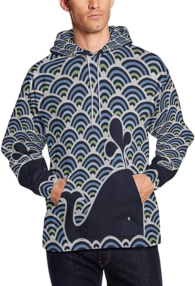 INTERESTPRINT Mens Wavy with Blue Whale Hooded Sweatshirt