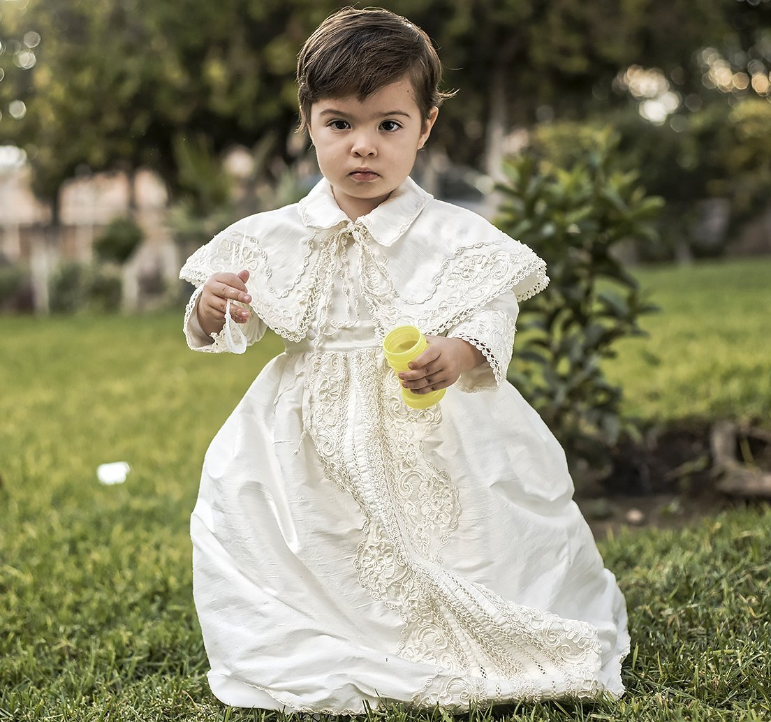 Vintage baptismal gown for boys Model B008 | Detachable skirt and Cape | HandMade | Burbvus Boy Christening outfit White or Ivory
