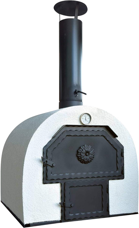 acerto 40239 Horno de Piedra para el jardín 62x62cm * Doble cámara * Ladrillo de Arcilla * Horno de jardín Aislado | Horno móvil de leña Horno de leña para Exterior | Horno de pastelería