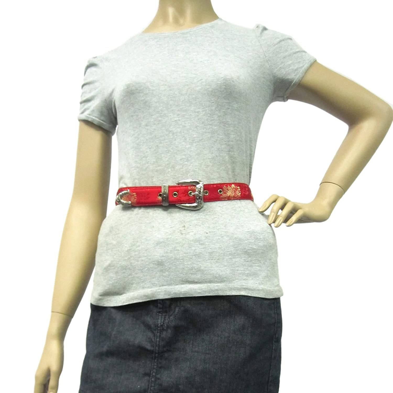 "1 1/8"" Women's Classic Sleek Silver Buckle on Quality Printed Silk Leatherett..."