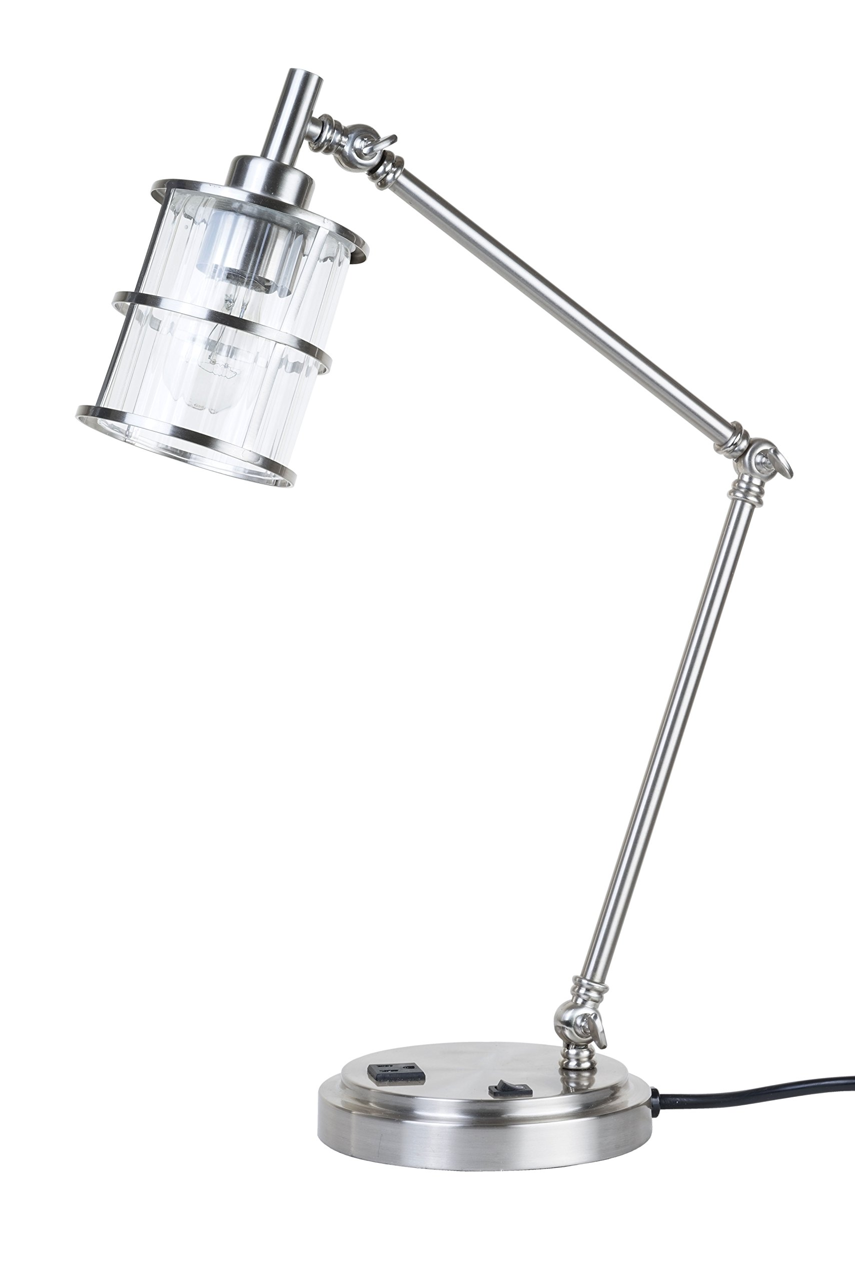 Catalina Lighting 23'' Leon Silver Ribbed Glass Desk Lamp with Outlet on Base, 20441-000 by Catalina Lighting