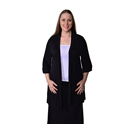 24Seven Comfort Apparel Women's Plus Size 3/4 Sleeve Open Neckline Cardigan